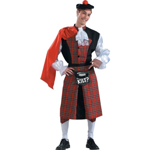 Adult Scotsman Costumes (Forum Novelties What's Under The Kilt Adults Only Costume, Red/Black, One Size)