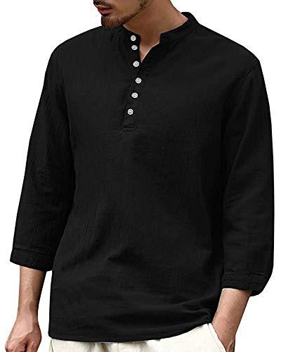 Tenkilo Mens 3/4 Sleeve Henley Shirts Banded Collar Linen Summer Beach V Neck Loose Fit Blouse T Shirt
