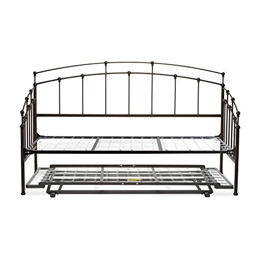 - Fenton Complete Metal Daybed with Link Spring and Trundle Bed Pop-Up Frame, Black Walnut Finish, Twin