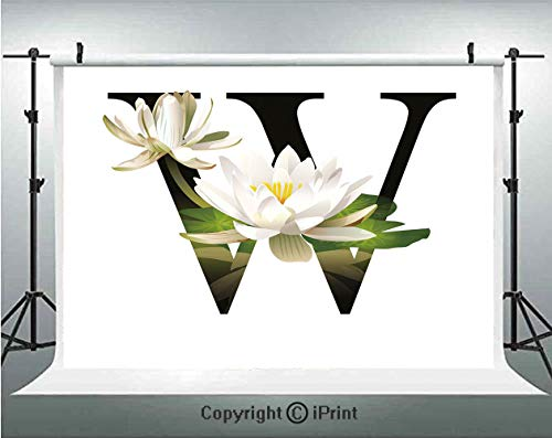 Letter W Photography Backdrops Water Lily Flower Arrangement Nature Inspired Alphabet Design Floral Print Decorative,Birthday Party Background Customized Microfiber Photo Studio Props,7x5ft,White Gree