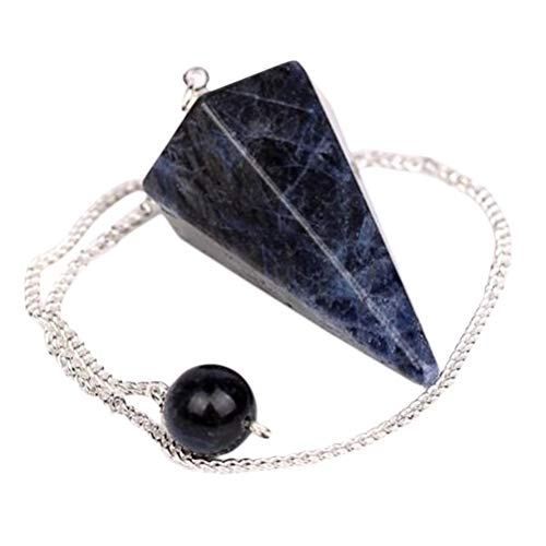 (fengshuisale Natural Sodalite Stone Crystal Pendulum Bead12 Facet Reiki Charged Energy)