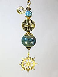 Ships Helm Nautical Sailing Wheel in Brass & Blue-Green Porcelain Glass Light or Ceiling Fan Pull