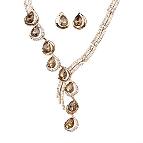 SunIfSnow Fashion Tilt One Line Crystal Diamond Necklace&Earrings Two Suit brown Leaves 10kt Gold Cross Ring