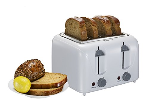 Bonsaii T869 Stylish 4-Slice Toaster with 6 Temperature Control; Cancel Button and Easy Clean Removable Crumb Tray, White (4 Slice White Toaster)
