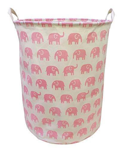 LEELI Laundry Handles-Collapsible Canvas Basket Bin,Kids Room,Home Organizer,Nursery Storage,Baby Hamper,19.7×15.7 (Pink Elephant) -