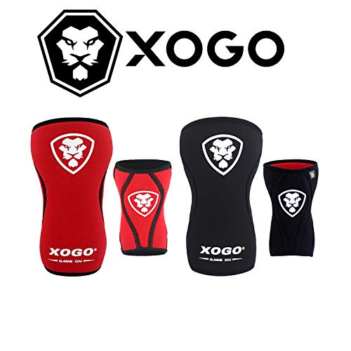 XOGO Pair of Weightlifting Knee Sleeves Reversible Technology – 5mm Neoprene Knee Sleeve Compression Support Perfect For…