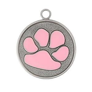 Designer Paw Dog Tag - Pink - 1 1/8 Inch Diameter