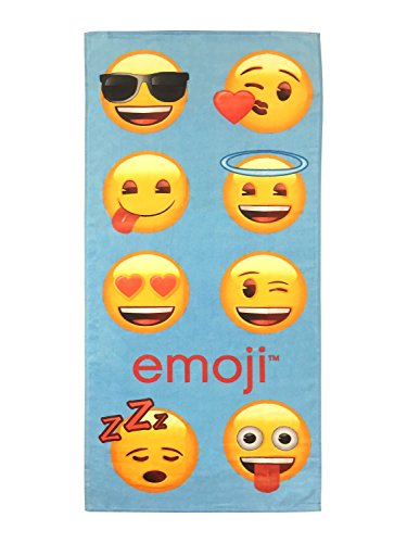 "emoji Emotions Blue 28"" x 58"" Cotton Bath/Pool/Beach Towel (Official License Product)"