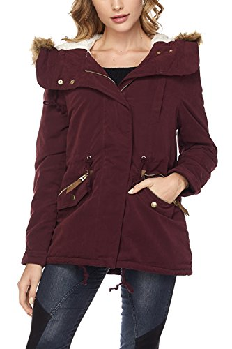 FASHION BOOMY Womens Zip Up Military Anorak Jacket W/Hood (Medium, LW-Wine)