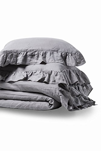 meadow park Stone Washed French Linen Duvet Cover Set 3 Pieces, Full/Queen 90 inches x 94 inches, Shams 20 inches x 26 inches, Ruffled Style, Button Closure, Corner Ties, Super Soft, Grey Color