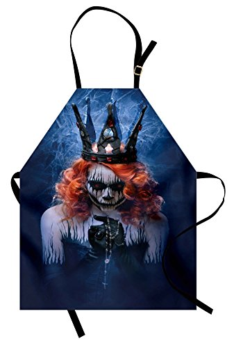 (Ambesonne Queen Apron, Queen of Death Scary Body Art Halloween Evil Face Bizarre Make up Zombie, Unisex Kitchen Bib Apron with Adjustable Neck for Cooking Baking Gardening, Navy Blue Orange)