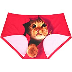 iKingsky Women Seamless Briefs, Sexy 3D Pussycat Anti-exposure Underwear, No Show Women Bikini (S, Rose-Cat 2)