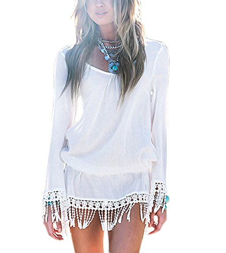 White s Tassel Beach Lora Chic Hem Women Boho Summer Aro Mini Dress qT7OxPEx