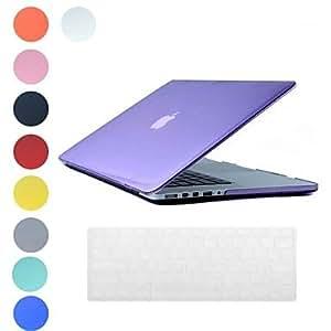 """GONGXI- Estuche rígido traslúcido diseño PC con la cubierta del teclado de la piel para MacBook Retina (colores surtidos) , Gris , 15.4"""""""