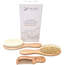Baby Hair Brush and Comb Set - Natural Grooming Kit Ideal for Newborn to Toddler - Amazon Baby Registry Must Have Item - Best Baby Shower Gift