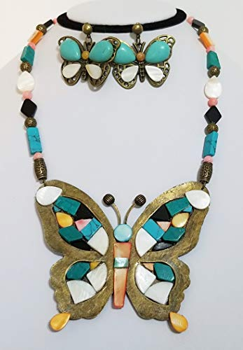 Southwestern Zuni Indian Style Big Butterfly Gemstone Necklace Earrings Turquoise One of a Kind