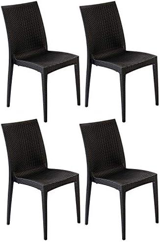 AVANTI TRENDSTORE – Lula – Sedia per Tavolo da Giardino, impilabile in plastica Sintetica Riciclata di Colore Antracite Scuro, Disponibile Anche in Set (Set di 4)