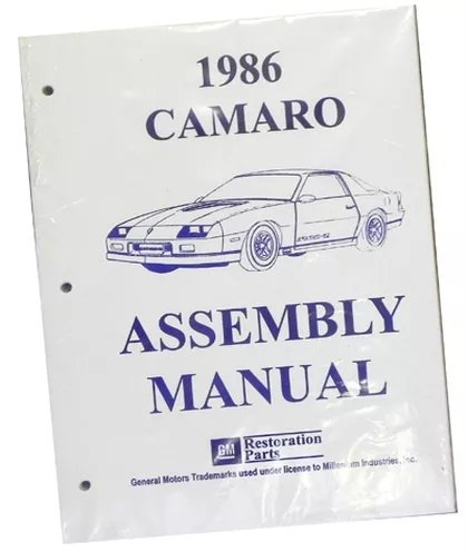 Inline Tube (I-2-2) Factory Assembly Manual for 1986 Chevrolet Camaro