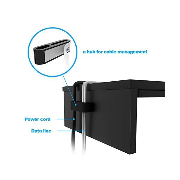 BONTEC Supporto per Monitor in Legno, Supporto per Monitor da Scrivania con Supporto per Smartphone e Gestione dei Cavi… 3 spesavip