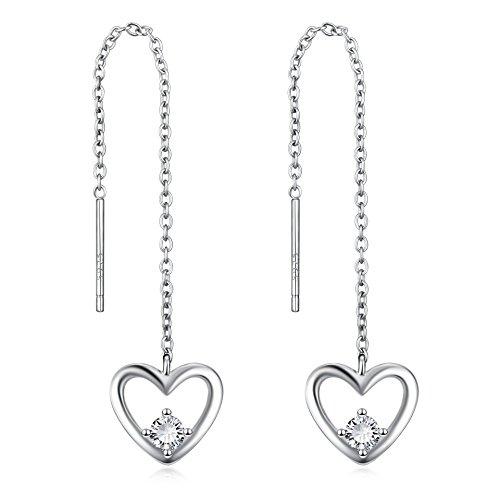 POPLYKE Threader Earrings Sterling Silver Long Linear Leaf Heart Dangle Drop Earrings for Women Girls (Heart Earrings)