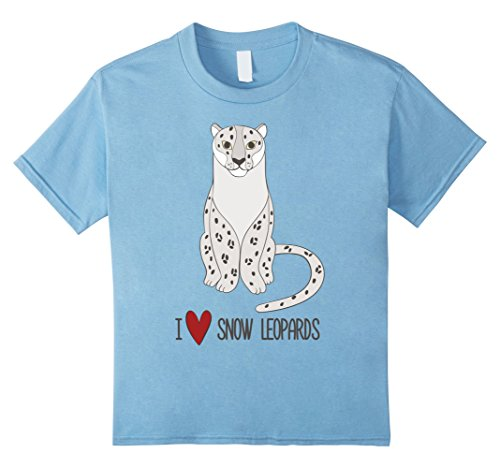 Kids I Love Snow Leopards Cute Beautiful Snow Leopard T Shirt 6 Baby Blue