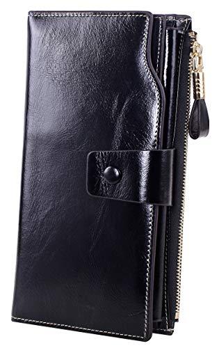 Obosoyo Women's RFID Blocking Large Capacity Luxury Wax Genuine Leather Clutch Wallet Card Holder Organizer Ladies Purse Black (Best Fat Blockers Reviews)