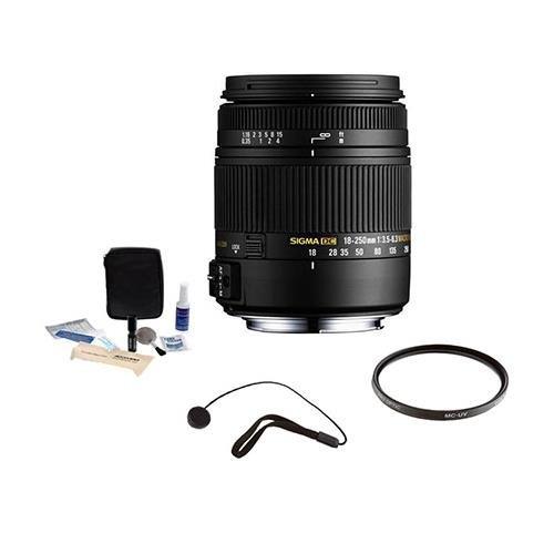 Sigma 18-250mm f/3.5-6.3 DC Macro OS HSM Zoom Lens f/Canon DSLRs, BUNDLE