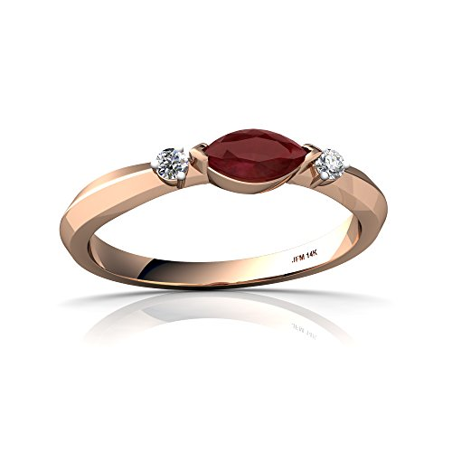 14kt Gold Ruby and Diamond 6x3mm Marquise Art Deco Ring