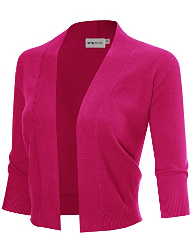MAYSIX APPAREL 3/4 Sleeve Solid Open Bolero Cropped Cardigan for Women Fuchsia (3/4 Sleeve Cropped Jacket)