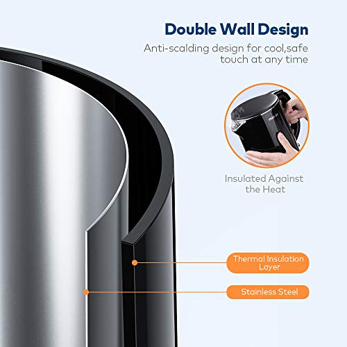 Electric Kettle, Miroco 1.5L Double Wall 100% Stainless Steel BPA-Free Cool Touch Tea Kettle with Overheating Protection, Cordless with Auto Shut-Off & Boil Dry Protection, 1500W Fast Boiling Heater by Miroco (Image #3)