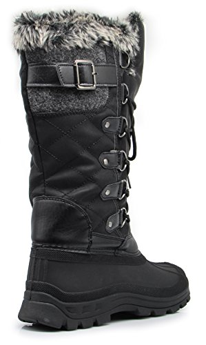 ARCTIC Women Winter Cold Weather Rubber Toe Snow boots Lace up Zipper Fleece Lining GFEzl8