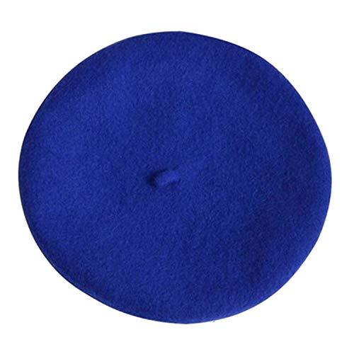 Lady Spring Winter Berets Hat Painter Style hat Women Wool Vintage Berets Solid Color Caps Female Bonnet Warm Walking Cap,Blue
