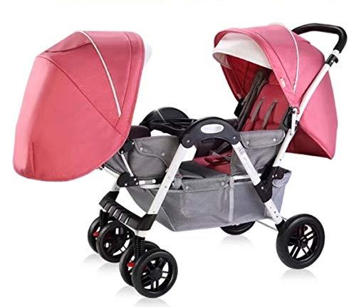 Double Stroller, Twin Tandem Baby Stroller with Adjustable Backrest, Footrest, 5 Points Safety Belts, Foldable Design for Easy Transportation (Color : Pink)