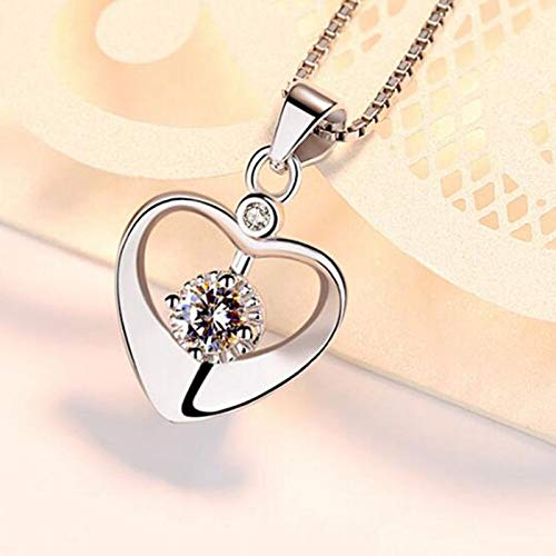 999 Sterling Silver Womens Love Heart Pendant Cubic Zirconia Crystal Sunflower Necklace 18 Chain