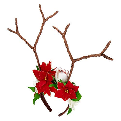 Claire's Girl's Poinsettia Reindeer Antlers Headband -
