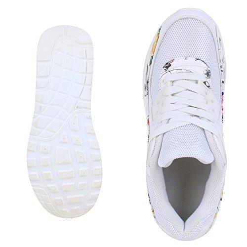 Japado Knallige Damen Herren Unisex Sportschuhe Auffällige Neon-Sneakers Sportlicher Eyecatcher Alltags-Look Angenehmer Tragekomfort Gr. 36-45 Weiss White Bianco