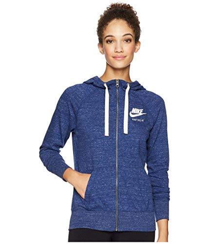 NIKE Womens Gym Vintage Full Zip Hooded Sweatshirt Blue Void/Sail 883729-478 Size ()
