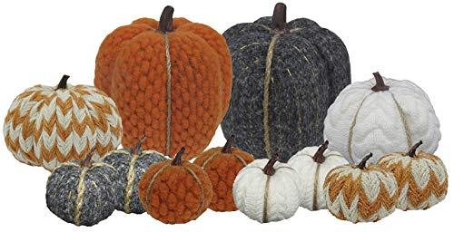 Fall Pumpkin Decorations and Halloween Pumpkin Decor | 12 Count Mini Decorative Pumpkins | 3 Inch, 5 Inch, 8 Inch Mini Pumpkins for Decorating | Gray, Orange, White, ()