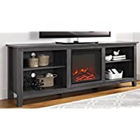 WE Furniture 70 Wood Media TV Stand Console with Fireplace - Charcoal