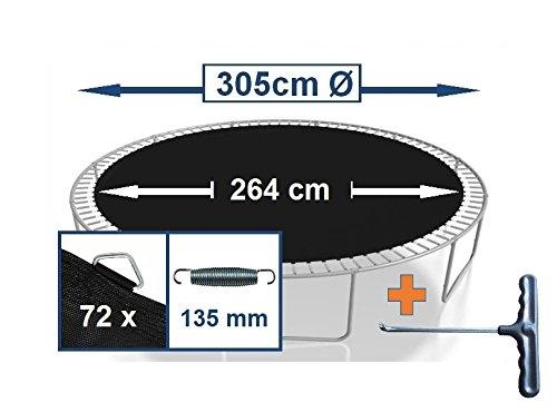 Sprungtuch Sprungmatte Ersatzteile für Trampolin Ø 305 cm 72 Ösen (Federn 13,5 cm)
