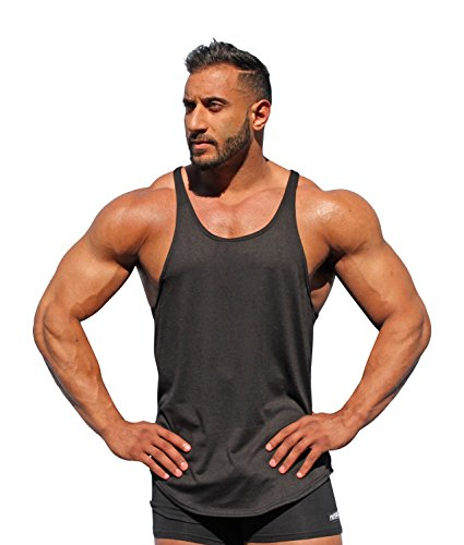 Physique Bodyware Men's Blank Y Back Stringer Tank Top. Made in USA. (X-Large, Black)