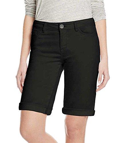 Buffalo David Bitton Womens Cuffed Bermuda Shorts (4, Black) ()