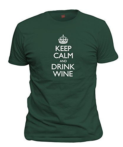 (ShirtLoco Men's Keep Calm And Drink Wine T-Shirt, Forest Green Extra Large)