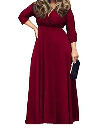 Solide Femmes Cromoncent Col En V Manches 3/4, Plus Robe Maxi Taille Vin Rouge