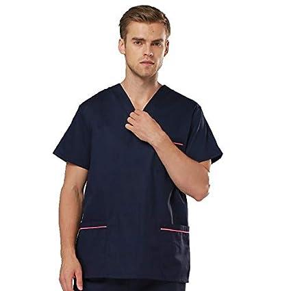 OPPP Ropa médica Uniformes Azules para Hombres y Mujeres Pincel de quirófano de Manga Corta cirujanos