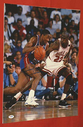 Isiah Thomas Autographed Signed 16x20 Photo Detroit Pistons PSA/DNA Jordan Read Note - Authentic Memorabilia
