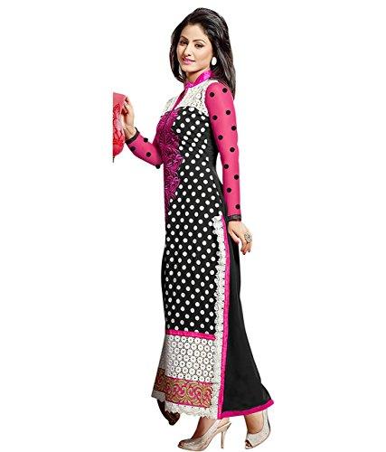 Pappenburg Women's Indian Women Georgette Madhubala Anarkali Salwar Suit Unstitched Dress Material Black