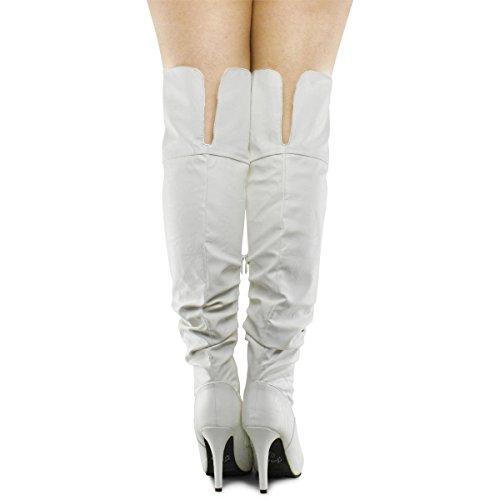 Forever Link Focus-33 Damenmode Stylish ziehen über Kniehohe Sexy Boots Premier Weiß