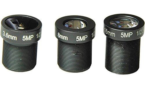 Bluefishcam Kits of 1/2.5'' 3.6mm,8mm,16mm Lens 5.0M Pixels Black Board Lens for CCTV Cameras Security Camera by Blue fish