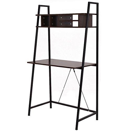 tangkula ladder shelf with desk leaning bookcases home. Black Bedroom Furniture Sets. Home Design Ideas